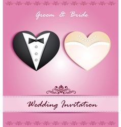 wedding card in form heart with tuxedo and dress vector image