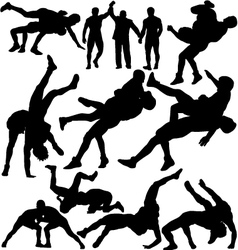 Wrestling silhouettes vector image vector image