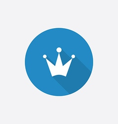 crown Flat Blue Simple Icon with long shadow vector image