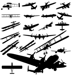 old plane silhouette vector image vector image