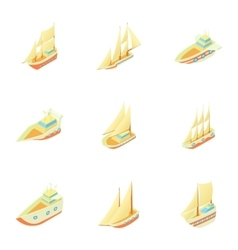 Ships icons set cartoon style vector image vector image