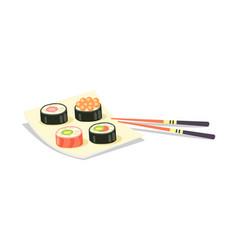 sushi set and chopsticks near on white background vector image vector image