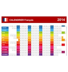Calendar 2014 French Type 14 vector image