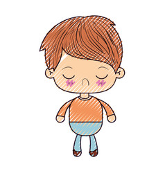 Colored crayon silhouette of kawaii little boy vector