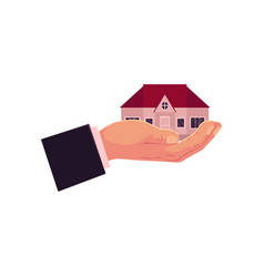 flat man hand gholding new house home vector image