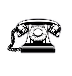 logo silhouette of the old home phone with a dial vector image