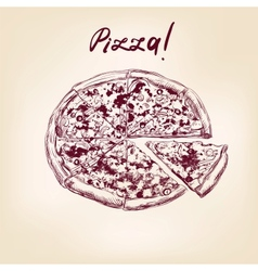 pizza hand drawn llustration realistic sketch vector image vector image