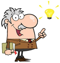 Professor With A Bright Idea vector image vector image