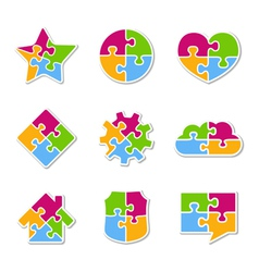 Puzzle Icons Collection vector image