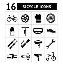 Set icons of bicycle biking bike parts vector image