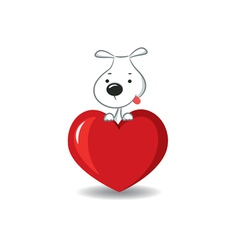 dog on the heart vector image vector image