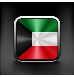 Kuwait flag button kuwait icon button vector image vector image
