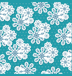 merry christmas snowflake seamless pattern vector image