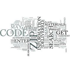 zip code search text word cloud concept vector image vector image