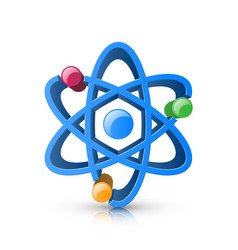 3d realistic atom icon on white background vector image