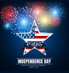 4 th july usa star independence day fireworks vector image