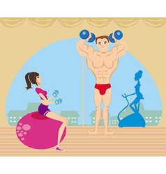 a group of people exercising in the gym vector image