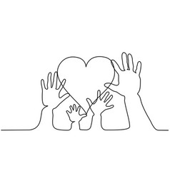 Abstract family hands holding hearts one line vector