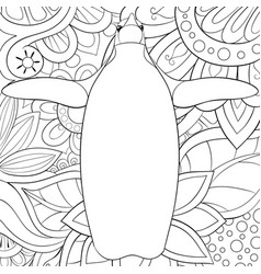 Adult coloring bookpage a cute penguin on the vector