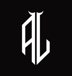 Aj logo monogram with horn shape isolated black vector