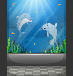 Aquarium scene with sea animals swimming vector