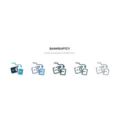 bankruptcy icon in different style two colored vector image