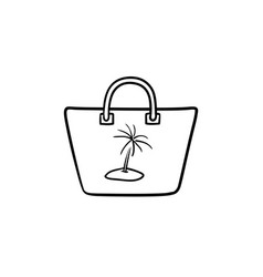 beach bag hand drawn outline doodle icon vector image