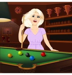 Beautiful blonde woman holding cue stick vector