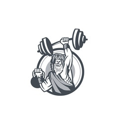 Berserker Lifting Barbell Kettlebell Circle Retro vector