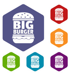 Big burger icons hexahedron vector