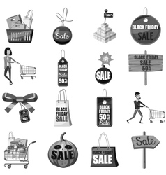 Black friday icons set gray monochrome style vector