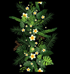 black tropical flowers and leaves vector image