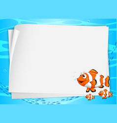 Blank paper banner with cute fish and on the vector