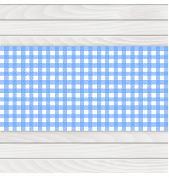 blue tablecloth on white wood table vector image