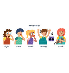 Boys and girls demonstrating five human senses vector
