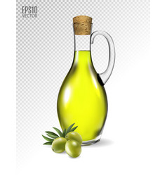 branch with olives and a bottle olive oil vector image