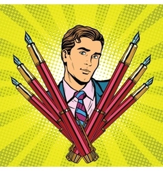 businessman and ink fountain pen icon vector image
