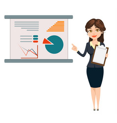 Businesswoman standing near board with vector