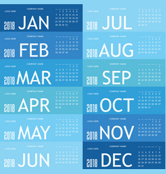 Calendar blue for 2018 vector