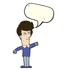 Cartoon man punching with speech bubble vector