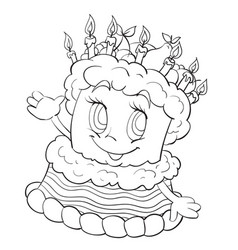 cheerful character a three-story cake outline vector image