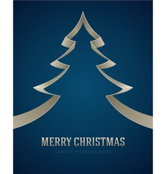 Christmas white tree from ribbon background vector image