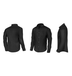 classic black shirt with long sleeves vector image