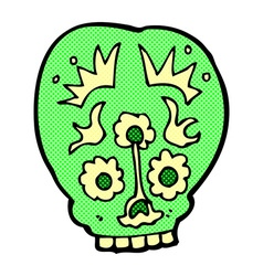 comic cartoon sugar skull vector image