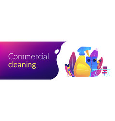 Commercial cleaning concept banner header vector