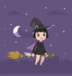 cute kid halloween character in witch costume on vector image