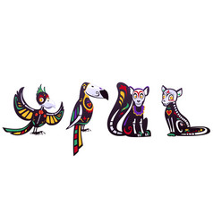 day dead dia de los muertos animals set vector image
