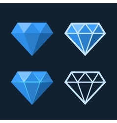 Diamond Icons Set Flat Style Logo vector