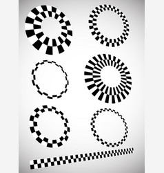 Different checkered chequered elements in 3d with vector