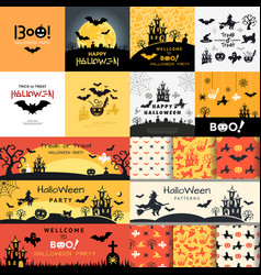 digital yellow black happy halloween icons vector image